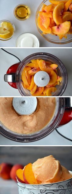 easy peach frozen yogurt. 4 c frozen peaches, 3 T honey, 1/2 c yogurt, 1 T lemon juice
