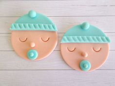 Baby Boy Shower Cupcake Fondant Toppers, Gender Reveal Party, Baby Shower Decor, 1st Birthday Party, Blue Edible Toppers, Baby Face- set 12 on Etsy, $18.95                                                                                                                                                     Más