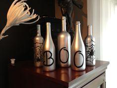 Halloween Wine Bottle Decorations - #DIY #Halloween #decor #boo #silver #spiders