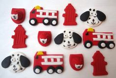 Fondant Cupcake Toppers  Fire Truck Fireman by CakesAndKids, $17.95