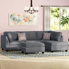 """Alcott Hill Charlemont 104"""" Reversible Sectional with Ottoman & Reviews 