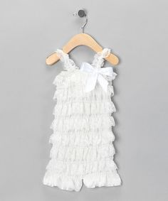 Take a look at this Wedding White Ruffle Romper - Infant by Baby Lace Rompers on #zulily today!