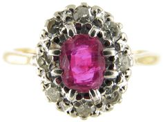 Ruby  Diamond Oval Cluster Ring from the Antique Jewellery Company, £1275