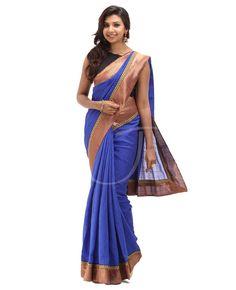 Bhagalpuri fabric. Body is bhagalpuri silk royal blue color with border. Border is attached golden fancy border. Pallu is bhagalpuri silk royal blue color with saree border. Blouse is bhagalpuri silk royal blue color with border.