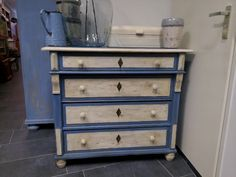 Annie Sloan greek blue and old white...waxed and distressed