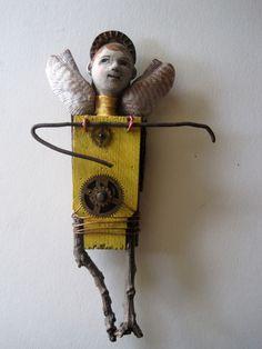 SUN ANGEL - art doll assemblage WALL sculpture ooak | Artists International Gallery