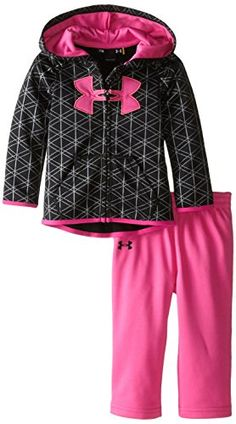 310c9a1d281 Under Armour Baby Girls  Maze Grid Shimmer Hoody Set New Baby Girls