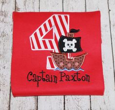 Boy's Pirate Birthday Shirt  Available in by thesimplyadorable, $20.00