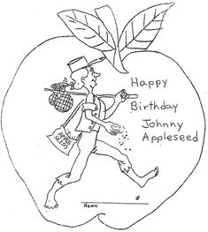 johnny appleseed coloring page - 1000 images about on pinterest johnny appleseed