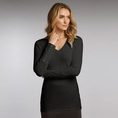 Luxury Organic Cotton V -Neck Top in Black