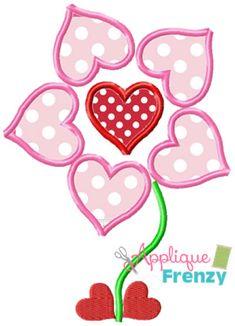 Heart Flower Two Applique Design Applique Designs, Embroidery Designs, Love Days, Quilling, Minnie Mouse, Monogram, Joy, Cartoon, Sims Cc