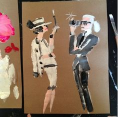 Coco Chanel & Karl Lagerfeld, Fashion Illustration, by Donald Drawbertson, via Instagram.