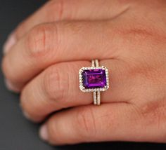 14k Rose Gold 10x8 Purple Amethyst Emerald Cut Engagement Ring and Diamonds Wedding Band set (Choose color and size options at checkout) by Twoperidotbirds on Etsy https://www.etsy.com/listing/200092160/14k-rose-gold-10x8-purple-amethyst