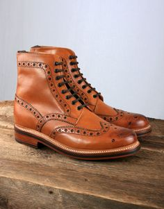 e9c056d0993fb Grenson Fred Brogue Boot with Goodyear Welted Sole - Tan Adventure Boots
