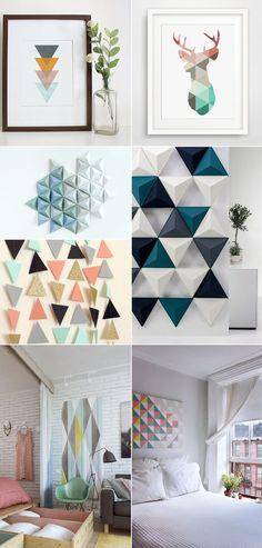 D coration inspiration scandinave vintage retro geometrique triangle m - Deco murale scandinave ...