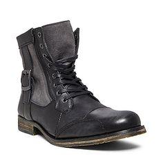 SIDECAR2 BLACK LEATHER men's boot casual zipper - Steve Madden