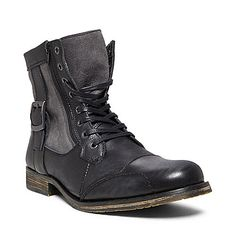 Candidate #4 SIDECAR2 BLACK LEATHER men's boot casual zipper - Steve Madden