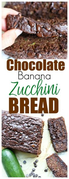This Chocolate Banana Zucchini Bread recipe is moist, decadent, but also healthy! You can eat it for breakfast, snack, or dessert! Banana Zucchini Bread Healthy, Zucchini Desserts, Healthy Bread Recipes, Zucchini Bread Recipes, Banana Bread Recipes, Zucchini Bread Muffins, Thm Recipes, Banana Com Chocolate, Vegan Chocolate