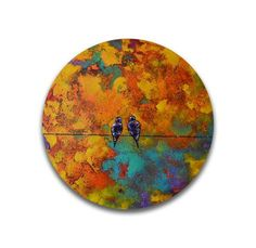 Items similar to Love birds painting palette knife painting original colorful wall art textured wall art work on Etsy Arte Coral, Coral Art, Circle Canvas, Round Canvas, Mini Canvas, Love Birds Painting, Painting Edges, Texture Painting, Design Shop