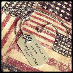 I Raised my HERO Proud Air Force MOM Hand Stamped Dog by girlinair, $15.00