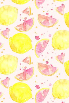 Pink lemonade watercolor design by erinanne. Great for summer napkins or a front porch pillow! Click to see this pink lemons pattern on fabric, wallpaper, and gift wrap.
