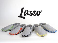 Lasso is a pair of flat-packed slippers. Made from one piece of wool-felt with a leather sole and laced in the colour of your choice.