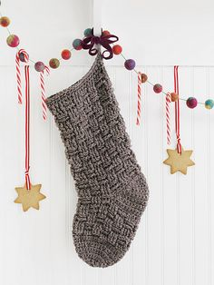 basketweave crochet stocking