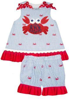 Girl's Monogrammed Crabs Seersucker Custom Dress or Outfit