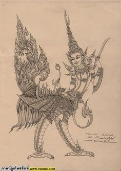 ❥●❥ ♥ ♥ ❥●❥ Khmer Tattoo, Thai Tattoo, Khmer New Year, Thai Design, Thailand Art, Ancient Goddesses, Thai Art, Art Inspiration Drawing, Buddha Art