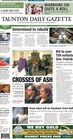 The front page of the Taunton Daily Gazette for Thursday, Feb. 19, 2015.