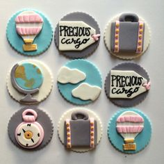 Travel Theme Baby Shower Cupcake Toppers  by MilkandHoneyCakery