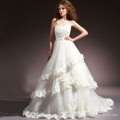vintage style wedding dress | Wedding Dresses > A Line > 2102 Vintage Style Floral Strapless Wedding ...