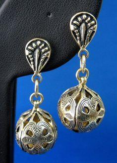 Earrings Dangling Balls Toledo Ware 1950s Spanish Damascene Vintage