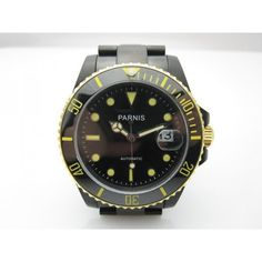 Parnis 40mm Submariner Style Sapphire Glass Black Dial Yellow Markers PVD Automatic