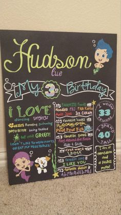 Bubble Guppies  Birthday Chalkboard. Item measures by chulapitas