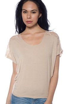 Finally Frilly Floral Lace Shoulder Tee - Taupe from Finesse at Lucky 21