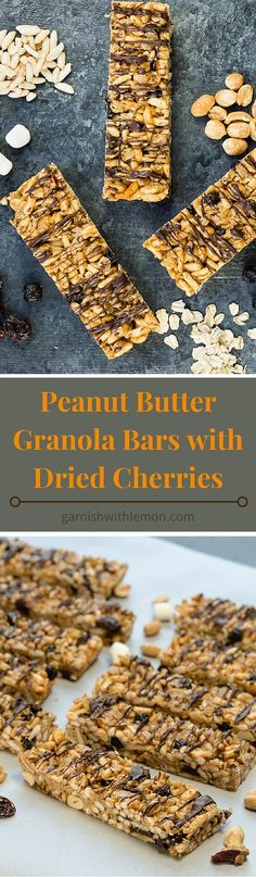Portable, healthy and filling, these homemade Peanut Butter Granola Bars with Dried Cherries are the perfect way to make sure your day gets started right. ~ http://www.garnishwithlemon.com
