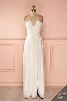 Robe longue voile blanc buste plissé bretelles fines billes - White veil beaded thin straps pleated bust maxi dress