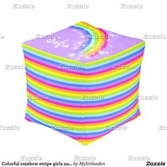 Colorful rainbow stripe girls name square pouf http://www.zazzle.com/pd/spp/pt-manualww_squarepouf?dz=27c4e1a9-26cc-49e5-81b8-f7c880635b64&clone=true&pending=true&size=cube13&fabric=poly&design.areas=%5Bmanualww_pouf_cube13_side3%2Cmanualww_pouf_cube13_side4%2Cmanualww_pouf_cube13_side2%2Cmanualww_pouf_cube13_side1%2Cmanualww_pouf_cube13_top%2Cmanualww_pouf_cube13_bottom%5D&view=113012782910405342&CMPN=shareicon&lang=en&social=true&rf=238588924226571373