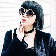 Women's Oversize Round Flat Pattern Sunglasses