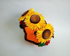 3D Origami Basket Quilled Sunflowers Rosehip Handmade Modular Quilling Flowers Paper Art Autumn Decoration