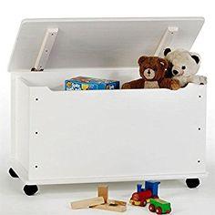 Coffre à jouets coffre de rangement ELISA pin massif lasuré blanc