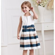 Little Girl Summer Dress 2016 Baby Girls Clothes Kids Party Dresses Casual Sleeveless Stripes Princess Dress ...