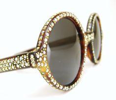 Retro sun Glasses Frames | Vintage 60s Round Rhinestone Sunglasses Frame by Vintage50sEyewear