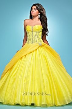 Ball Gown Sweetheart Strapless Organza Quinceanera Dress - IZIDRESSES.COM at IZIDRESSES.com