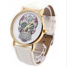 Nové levné dámské hodinky s lebkou bílé novinka – POŠTA ZDARMA Na tento  produkt se vztahuje 23b9f23d08