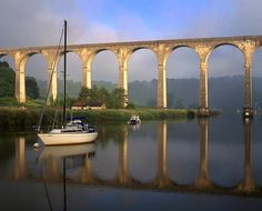 Cornwall, UK - Calstock Viaduct.  Carries the railway over the River Tamar from Devon into Cornwall.