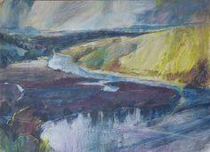 """Summer Clouds over the Dart"". UK Pastel artist. Sarah Bee"