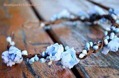 white blue floral crown head wreath/pip berries twig/bridal garland/crown/circlet/flower girl halo/bridesmaid crown/wedding/small bud on Etsy, $34.79