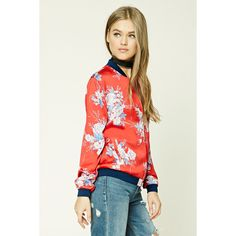 Floral Satin Bomber Jacket ($23) ❤ liked on Polyvore featuring outerwear and jackets